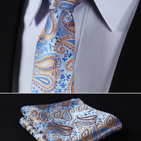 "TP811N7 Orange Blue skinny floral 2.75"" 100%Silk Woven Slim Skinny Narrow Men Tie Necktie Handkerchief Pocket Square Suit Set"