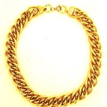 Heavy Quality Golden Link Chain necklace bold statement True vintage jewelry 70s