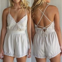 Sugar Land Sleeveless Suede Surplice Romper