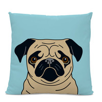 Pug Pillow - Fawn Pug on Blue Pillow - Modern Home Decor - Living Room Pillow - Dog Pillow - Pug Lover Gift - Dog Lover Pillow - Kids room