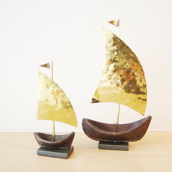 Brass sailboats  oxidised base golden hammered sails, made to order