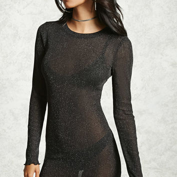 Metallic Sheer Mini Dress