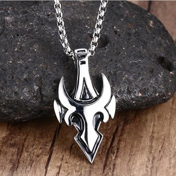 Mens Necklaces Stainless Steel Arrowhead Shape BULL Necklace Pendant in Silver-color with Link Chain Men Punk Biker Jewelry