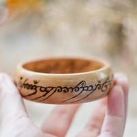 LOTR inspired Woodburned Ring of Power bangle