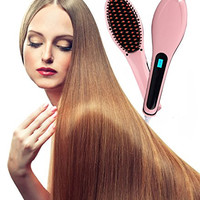 WELOVE Fast Hair Straightener Hot-Air Brushes Hair Combs Anti Static Ceramic, Anti Scald, Detangling Hair Brush, Instant Magic Silk Straightening Styling Heating Massage, Zero Damage for All Hair Pink