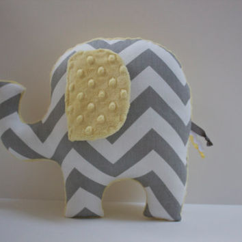 Chevron elephant pillow, ELLE, yellow and grey gray, stuffed animal plushie, sensory toy, baby shower gift, modern nursery decor