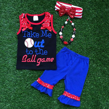 "Girls Toddler Little Sister Baseball Outfit ""Take Me Out To the Ballgame"" Boutique Capri Short Sleeve Summer Outfit"