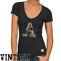 Original Retro Brand Army Black Knights Women's Slim Fit V-Neck T-Shirt - Black