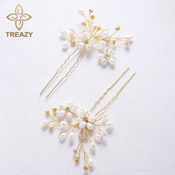 TREAZY 2pcs/Lot Bride Simulated Pearl Crystal Hairpins Charm Wedding Floral Hair Pins Headpiece Bridal Hair Jewelry Accessories