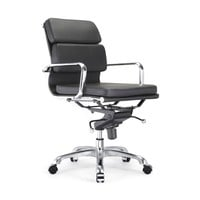 Century Black Padded Modern Classic Aluminum Office Chair (Set of 2)