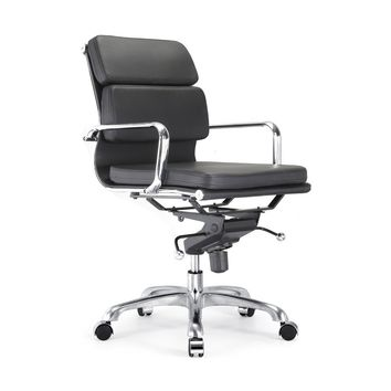 Century Black Padded Modern Classic Aluminum Office Chair