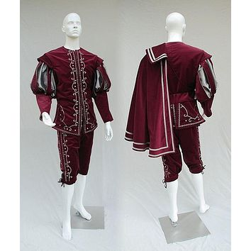 Queen Elizabeth Tudor Period Medieval Men Cosplay Red Costume with Cape