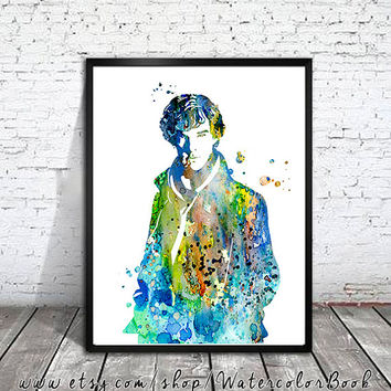 Sherlock Holmes 2 Watercolour Painting Print, watercolor painting, watercolor art, Illustration,Sherlock Holmes poster, Celebrity Portraits,