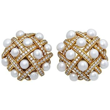 Chanel Pearl and Diamond Earrings