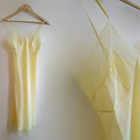Yellow vintage slip - 1970s semi sheer nylon chemise - lace trim retro full slip - lemon pin up lingerie