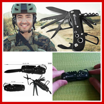 Camouflage Blacked Out Swiss Multifunctional Army Tool Outdoor Survival Gear