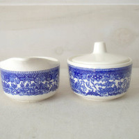Blue Willow China, Blue Willow Tea Set, Blue and White Cream and Sugar Bowl