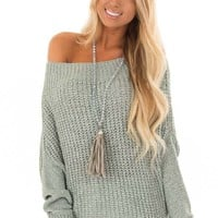 Mint Ribbon Knit Sweater with Long Tapered Batwing Sleeve