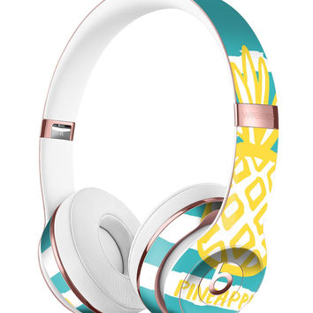 Striped Mint and Gold Pineapple Full-Body Skin Kit for the Beats by Dre Solo 3 Wireless Headphones