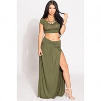 Olive Double Slit Maxi Skirt