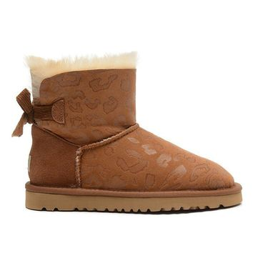 ESBON UGG 1006058 Bowknot Leopard Women Fashion Casual Wool Winter Snow Boots Chestnut