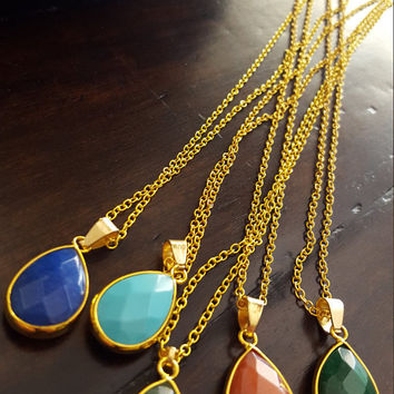 Quartz Natural stone necklace gold plated statement necklace jewelry for gift wedding