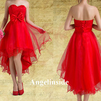 High Low Homecoming Dress, Lace Homecoming Dress, Red Homecoming Dress, Cute Homecoming Dress, Flare Prom Dress, Lace Red Prom Dress, ai033