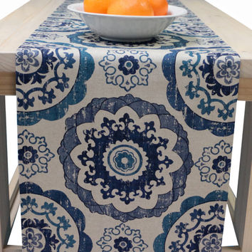 Table Runner Blue 72 Inch, 90 Inch, 96 Inch, 108 Inch, 120 In.