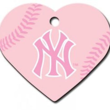 Officially Licensed MLB New York Yankees Pink Heart Pet ID Tag