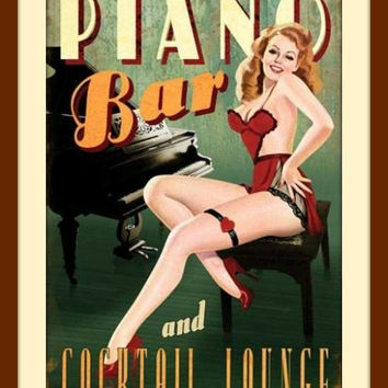 Bar Sign, Bar Decor, Piano Art, American Girl, Pin Up Art, Pin Up Girl, Metal Wall Decor, Sexy Art, Novelty Print, Restaurant Decor, Lounge