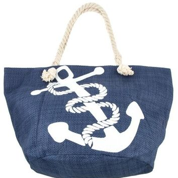 Anchor Print Tote Bag with Rope Handle - Navy
