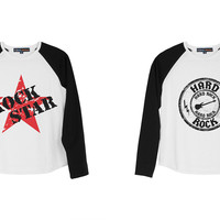 Kid's Rock Icon Printed 100% Cotton Long Sleeves Raglan T-Shirt UTS_01
