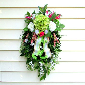 door swag, floral swags, Summer door swag, cottage wreath, flower swag, front porch wreath, front porch decor, summer, country home decor