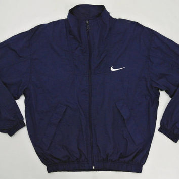 Nike Windbreaker Men Small Medium Vintage 90s Nike Jacket Navy Blue Nylon Windbreaker