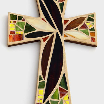"Mosaic Wall Cross, Large,  Abstract Floral, ""Sunset"", Browns+Olive+Gold Mirror Handmade Stained Glass Mosaic Cross Wall Decor, 15"" x 10"""