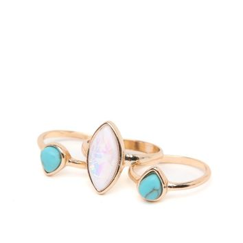 With Love From CA Opal Turquoise Ring Pack - Womens Jewelry - Gold