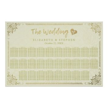 Gold Script Floral Frame Wedding Seating Chart Poster