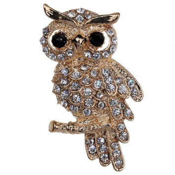 Fashion  Gold Plated Owl Style Shiny Crystal Inlay Lady Jewelry Rhinestone Brooches For Weddings