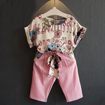 1-6Y Baby Clothes Outfit Summer Kid Girls Short Sleeve Floral T-shirt Tops+ Cropped Pants Children Fashion Suits 2pcs/Set