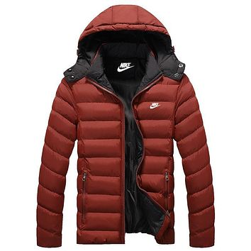 Nike Women Men Fashion Casual Hooded Cardigan Jacket Coat Windbreaker