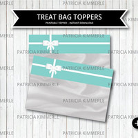 Printable Bag Toppers, Breakfast at Tiffany's, Birthday, Party Decorations, DIY, Favors, Chic, Fashion,Treat Bag, Favor Bag