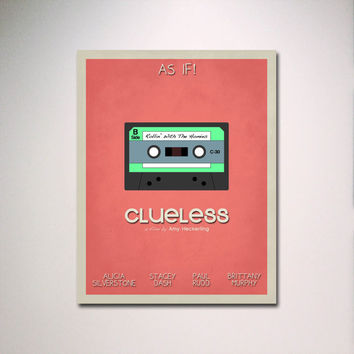 "Clueless Inspired  Minimalist Movie Poster 24"" x 36"" Print"