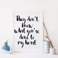 Printable art; Printable quote ONE DIRECTION print,poster print,home decor,home prints,,white and black print,digitalprint,instant download