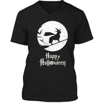 Witch Funny Halloween Costume  GOLDEN RETRIEVER Lover Mens Printed V-Neck T