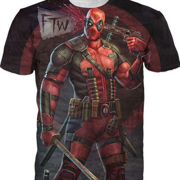Deadpool T Shirt Men American Comic Badass Anime 3D T-Shirt Men Slim Fitness Hip Hop Tshirt Homme