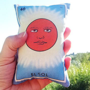 Sol Sun Mexican Loteria Mini Pillow with Lavender - Christmas Tuck Pillow or Bowl Filler, Dia De Los Muertos / Day of the Dead