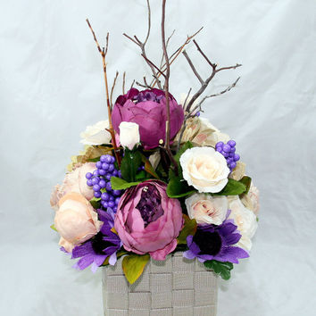 Purple and Off White Peony, Rose, and Manzanita Wedding Centerpiece