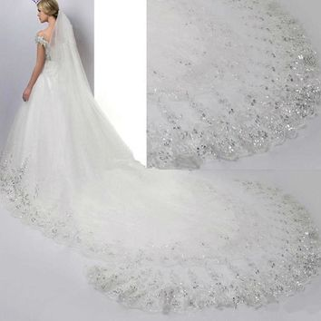 Ivory White Bridal Veils Lace Edge Tulle Bling Sequin Cathedral Wedding Veil Long Wedding Accessories