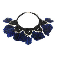 BLUE FEATHER CROCHET COLLAR
