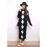 Argyle Pattern Oversized Knit Dress